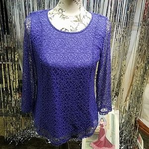 💜💖Chico's💜 purple size 0 💜💖sexy lacy top💜💖
